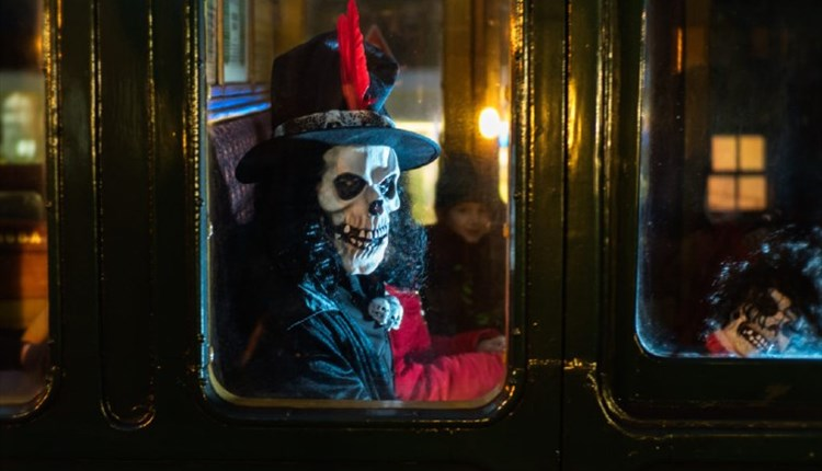 Isle of Wight, Things to Do, Isle of Wight Steam Railway, Fright Night, Image of scary skeleton figure in train window