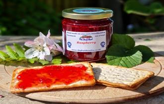 Image of Crackers with Jam and a Full Pot of Jam, Local Produce, Fruitbowl Jams, Newchurch, Isle of Wight