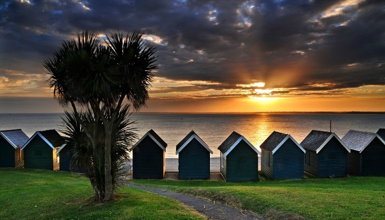 Sunset over the sea at Gurnard Beach, Isle of Wight, Things to Do