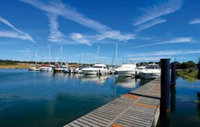 Boats moored at Island Harbour where The Breeze Restaurant is based, Newport