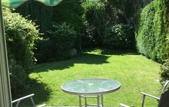 View of garden from the Sudtio Annexe, self-catering, Isle of Wight