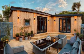 Outside view of Wisteria Lodge at Appuldurcombe Gardens Holiday Park, Self-catering, Wroxall