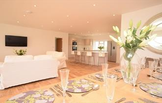 Dining, living and kitchen open plan at The Orchards, self catering, Island Riding Centre, Isle of Wight