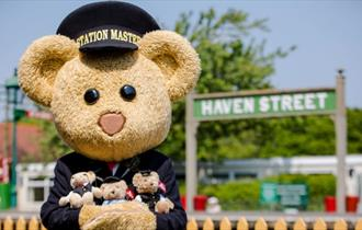 Isle of Wight, Things to Do, Isle of Wight Steam Railway, Teddy Bear Day, Image of station master teddy bear at Haven Street Station