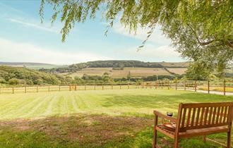 Isle of Wight, Accommodation, Kingates Farm Shepherds Hut View Over Gardens