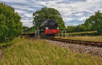 Isle of Wight, Things to Do, Isle of Wight Steam Railway, Image of steam train moving along tracks in countryside