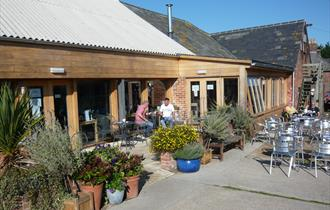 Outside seating area at Bluebells at Briddlesford, Isle of Wight, local produce, let's buy local
