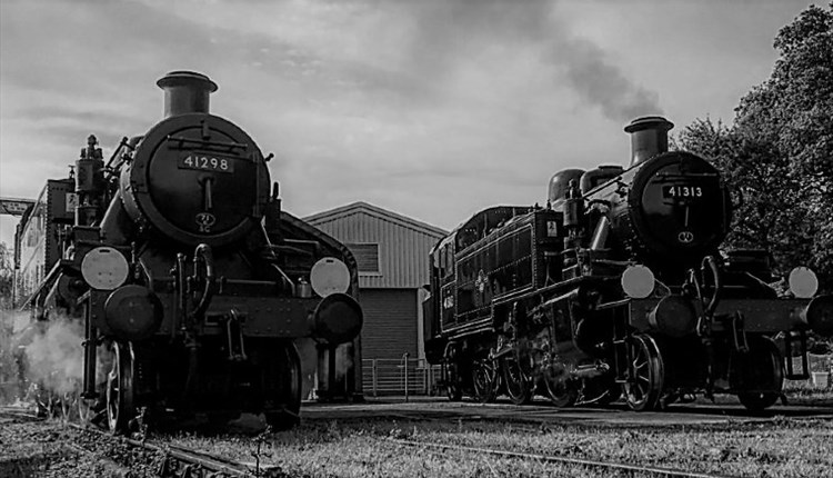Isle of Wight, Things to Do, Isle of Wight Steam Railway, Black and White image of 2 steam engines front on.