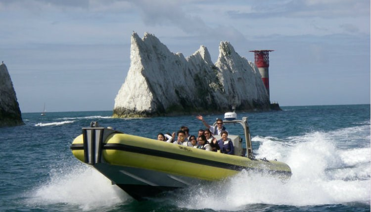 Group of people on a RIB around the Needles, Needles Pleasure Cruises, Isle of Wight, Things to do
