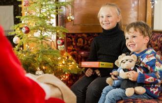 Children meeting Santa, Isle of Wight Steam Railway - Santa Specials - Havenstreet