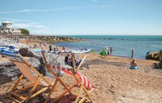 Deck chairs on Steephill Cove beach, Ventnor, Isle of Wight, Things to Do
