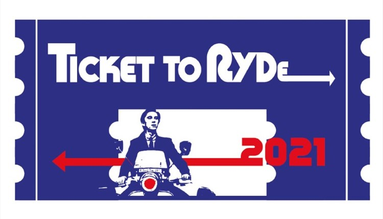 Isle of Wight, Ticket to Ryde, Family Fun Festival,  Music, Family Entertainment, Ticket to Ryde 2021 Logo with MOD scooter image