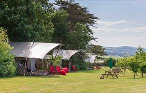 Outside view of Safari Tents at Tom's Eco Lodge, self-catering, West Wight, Isle of Wight
