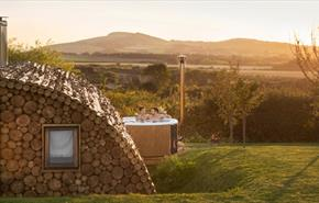 Isle of Wight, Tapnell Farm Holiday Destination, Tom's Eco Lodge, Modulog Accommodation with Hot Tub overlooking downs Copyright - Skargards