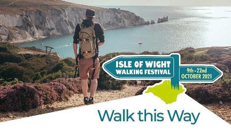 Man looking at The Needles from cliff, Isle of Wight Walking Festival, What's On