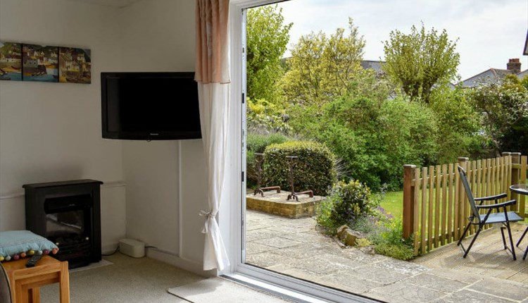 French doors from lounge to garden at Clarence House in Shanklin, Isle of Wight, Self Catering