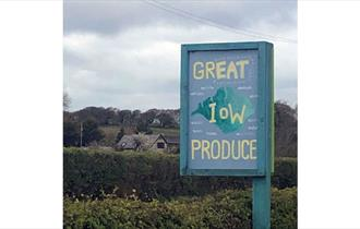 Brownrigg's sign outside the farmshop advertising great Isle of Wight produce, farm shop, Godshill, local produce, let's buy local