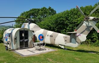 Outside view of the Galahad Helicopter at Windmill Campersite, Isle of Wight, Glamping