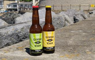 Two bottles of Grazed Knee Cider bottles standing on the walkway at Ventnor Esplanade, Isle of Wight, local producers, local produce, let's buy local