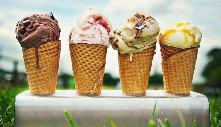 Selection of Isle of Wight Ice Cream in a rack laid on the grass in a field, local producers, Isle of Wight, local produce, let's buy local