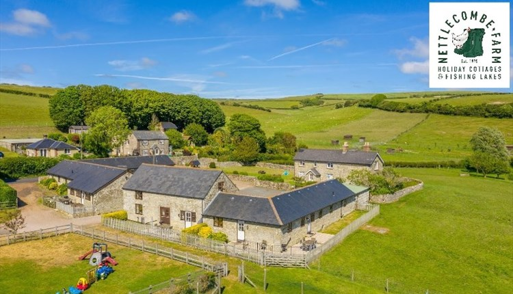 Aerial view of Nettlecombe Farm and countryside, self catering, Isle of Wight