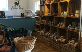 Inside of The Pantry with a variety of Isle of Wight produce on display, local produce, Binstead, let's buy local
