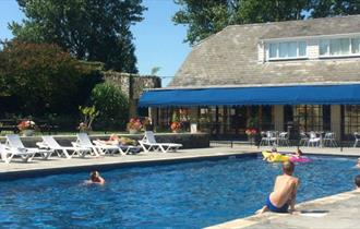 Outside swimming pool at Appuldurcombe Gardens Holiday Park, Wroxall, holiday park