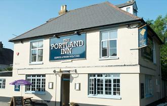 Outside view of the Portland Inn, Gurnard, local produce, pub