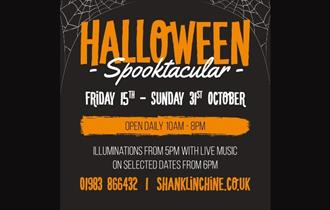 Spooktakular Halloween poster, Shanklin Chine, October Half Term, What's On