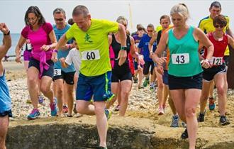 People running along beach, Dash Splash, What's On, Shanklin, Sandown