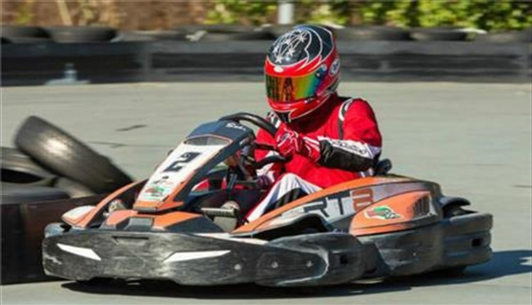 Person in a go kart racing around the track at Wight Karting, Things to Do, Ryde, Isle of Wight