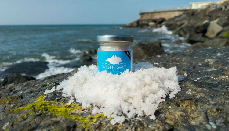 Wight salt on the sea rocks at Ventnor, local producers, Isle of Wight, local produce, let's buy local