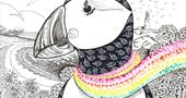 Puffin scarf design.