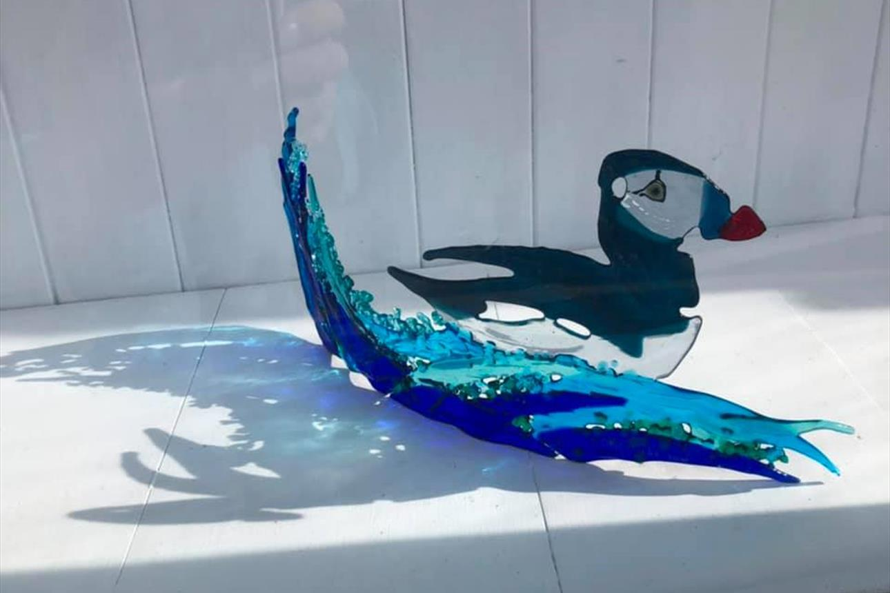 Puffin fused glass.