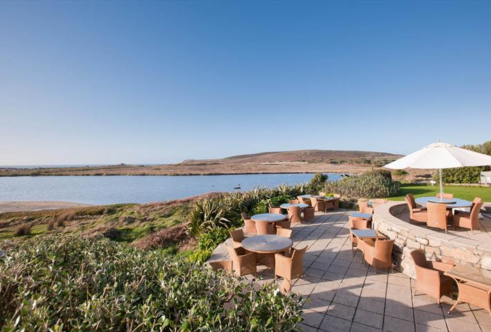 Hell Bay Hotel terrace on Bryher, Isles of Scilly