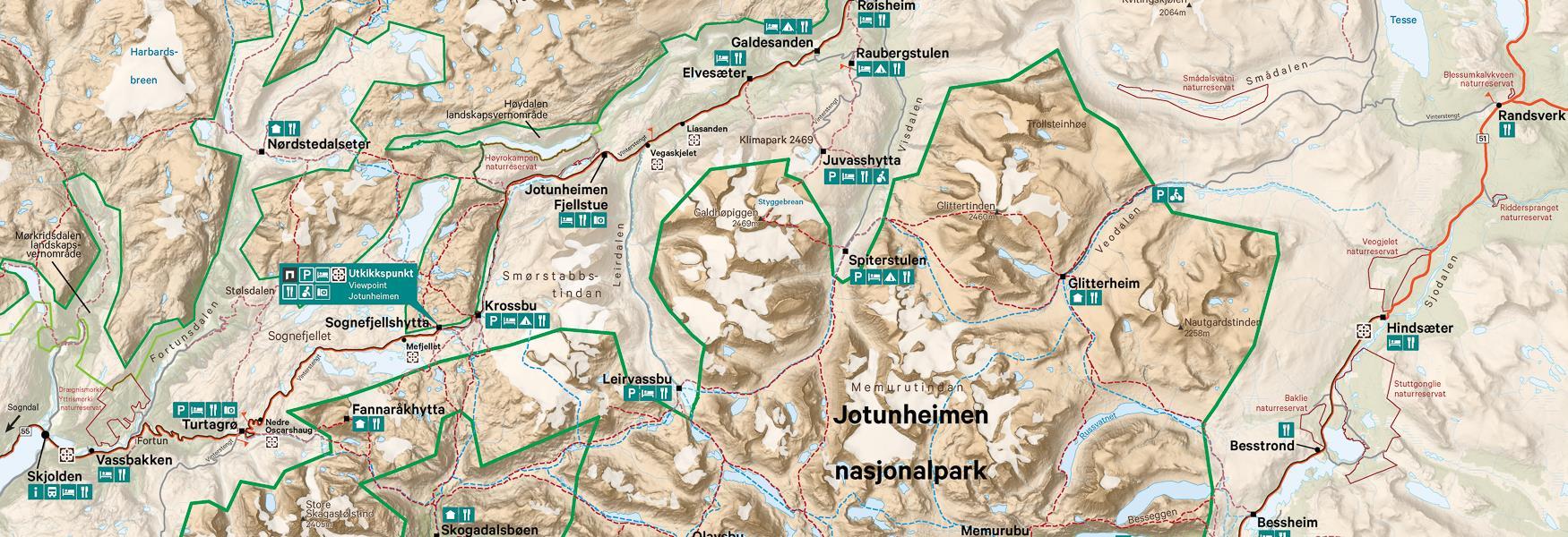 VJ Jotunheimen nasjonalpark kart _galleri
