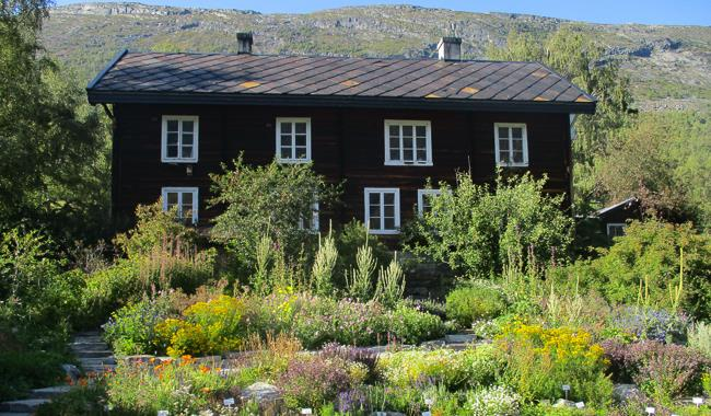 Aukrust farm, a house and flowers and herbs in front.