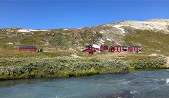 Blue river flows past Krossbu tourist cabin in the summer.