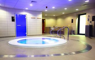 Indoor hot tub at Spa on the Breck