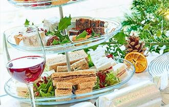 A festive afternoon tea spread.