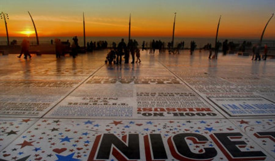 Sunset over Comedy Carpet Blackpool