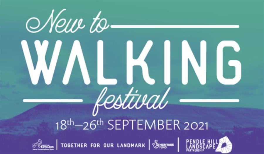 Walking festival poster showing the beautiful hills of the Lancashire countryside.