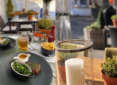 Outside seating and food