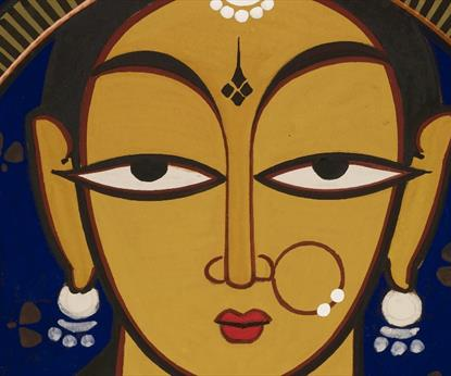 Jamini Roy, Untitled: Mother and Child, tempera on cloth, Private Collection