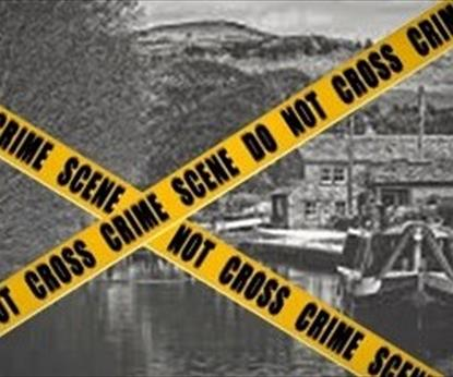 A vintage canal picture with crime scene tape