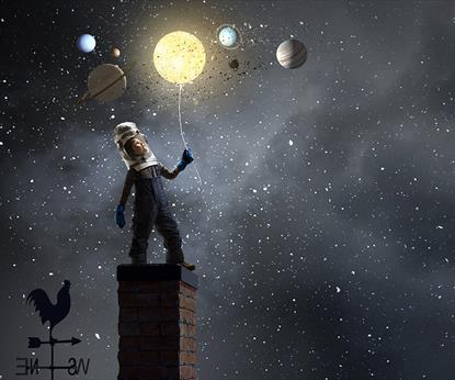 A space man standing on a roof looking at the planets