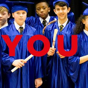 Promotional artwork for Yes You Can. 10 students wearing white shirts, stripy ties and blue satin graduation gowns and mortar boards smile as they hol