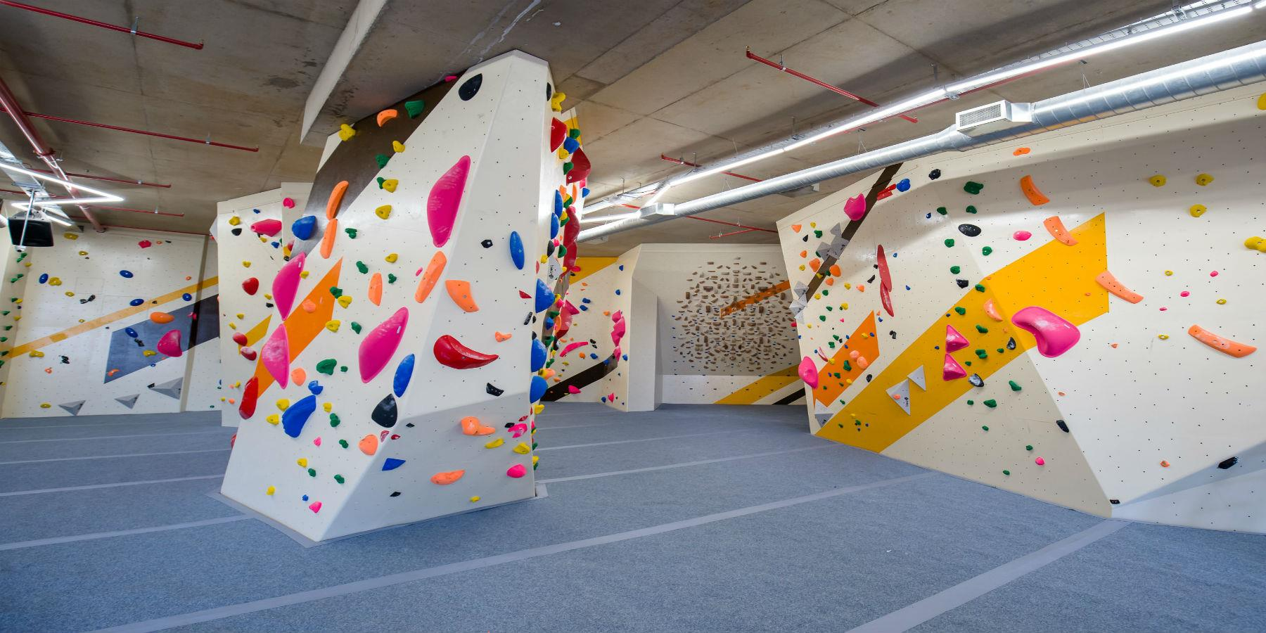 climbing wall of various shapes and sizes