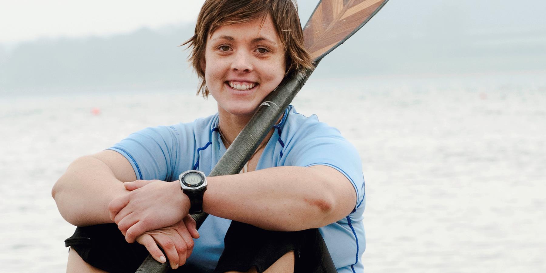 Sarah Outon smiling at Rutland Water