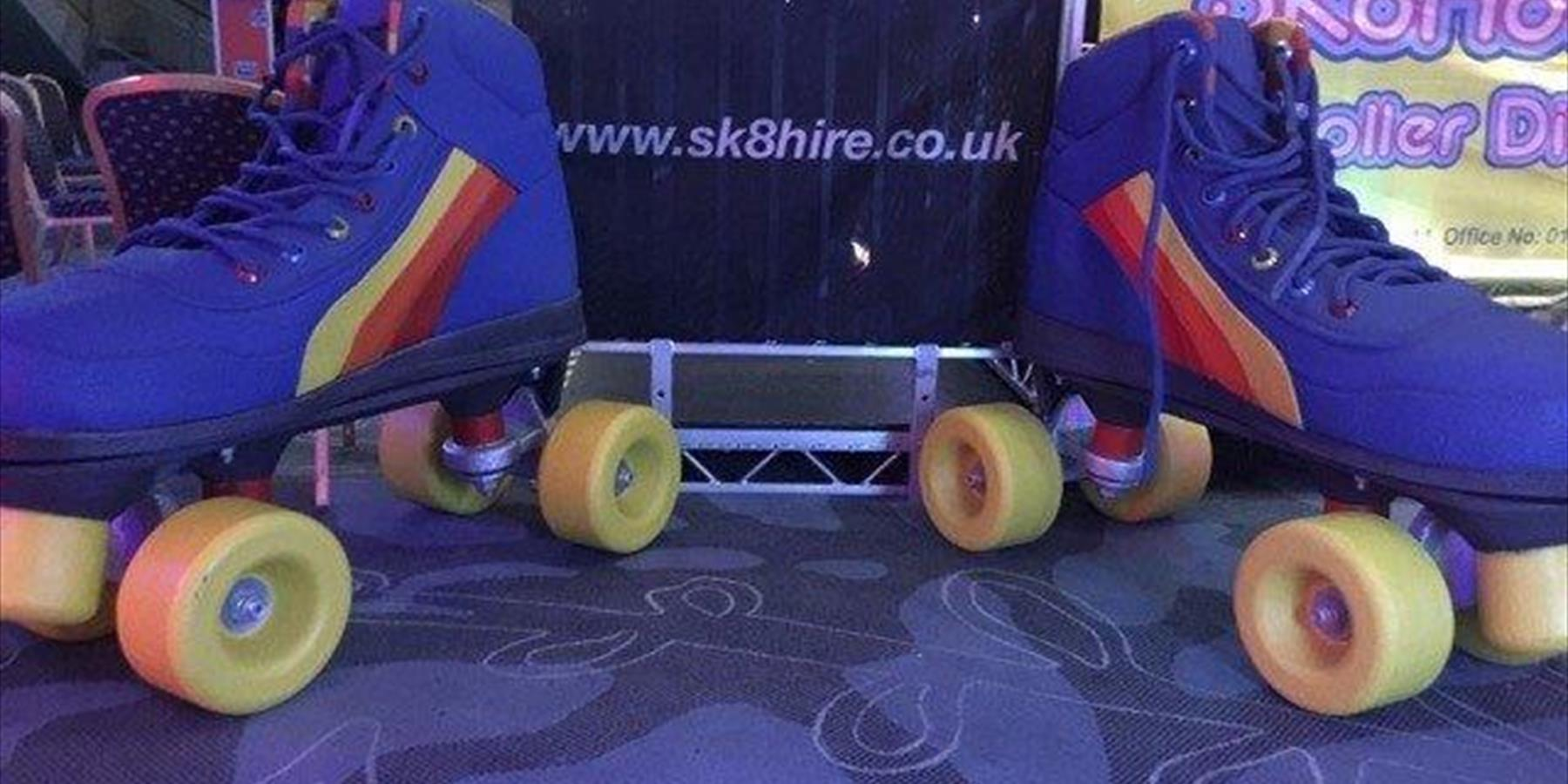 A pair of giant roller skates